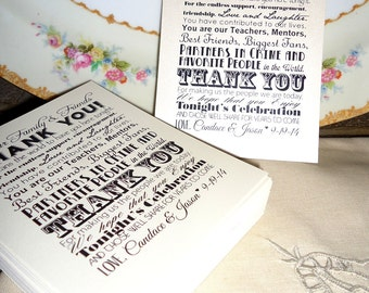 Custom Wedding Thank You Reception Card Place Setting - Set of 100