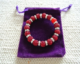 Luxury Handmade Shamballa Bracelet Ruby Stretch