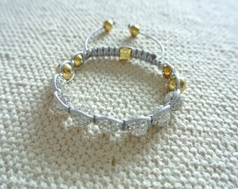 Luxury Handmade Shamballa Bracelet Silver and Gold Crystal Beads