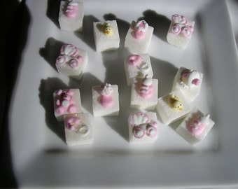 28 Pcs Decorated Sugar Cubes Baby Girl Collection     Simply Darling