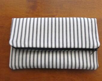 Clutch Bag / Clutch Purse / Foldover  Zipper Clutch Bag / Zipper Pouch  / Black Ticking Stripe