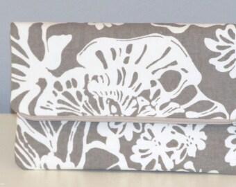 Clutch Bag / Clutch Purse / Foldover Zipper Clutch Bag / Zipper Pouch / Handbag /  Toupe and Natural Floral
