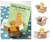 Little brown cat sticky notes shy cat scottish fold mini pet cat memo animal Post-it Index Memo Pad kitty carton box cat house Paper gift