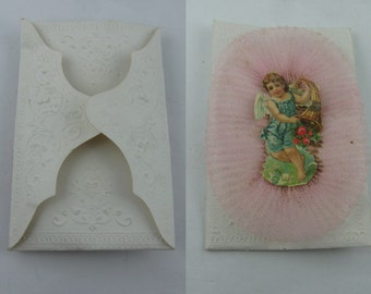 Ancient Baptism postage envelope. Embossing paper, glossy picture cherub angel with cornucopia, pink tulle. Probably ~1900. VINTAGE