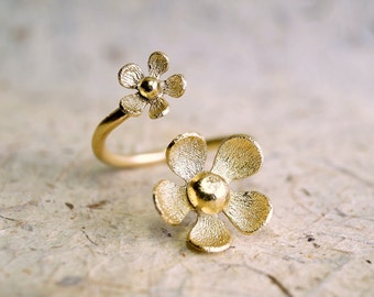 Daisy ring, Flower ring, Daisy jewelry, Open ring, Adjustable ring, Double ring, Gold plated ring, Silver ring, Jewelry, Stackable ring