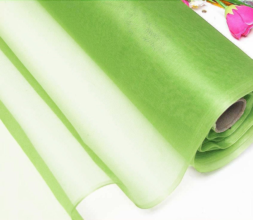 Silk organza fabric kiwi natural silk material for wedding for Wedding dress fabric samples