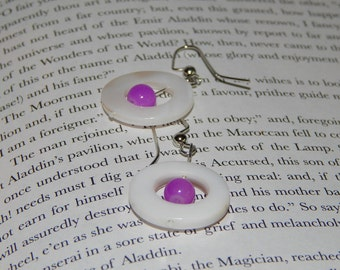 Ivory Circle and Fuchsia Accent Earrings