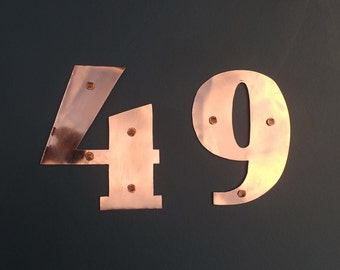 "Art Deco mailbox house numbers in copper - 4""/100mm high in polished and hammered finishes g"
