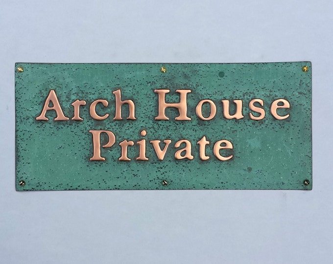 "Gate, door Sign address plaque up to 22 letters of your choice in 1"" high Garamond font, patinated copper"