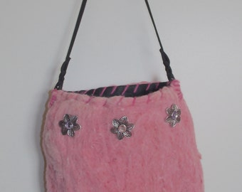 Needle and Wet Felted Handbag. Hand Sewn.
