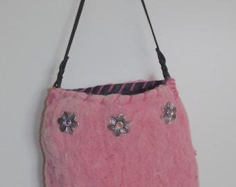 Needle and Wet Felted Handbag. Hand Sewn.