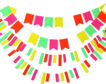 Neon Felt Garland Set, Neon Garland, Neon Wedding, Florescent Garland, Felt Garland, Floresenct Orange, Yellow, Green, Pink