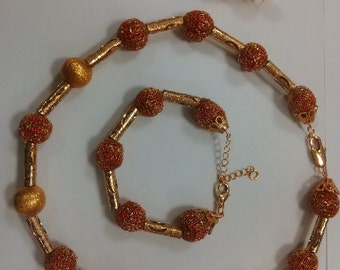 African Ethnic Wine & Gold Seed Bead Statement Necklace and Earrings Jewelry set Unique Gifts Wedding