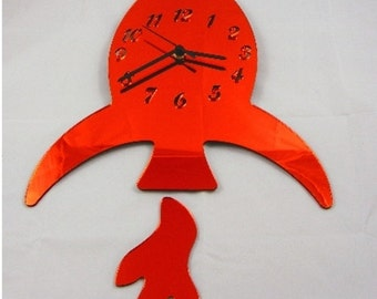Rocket Clock Mirror with Separate Flame - 2 Sizes and Colours Available