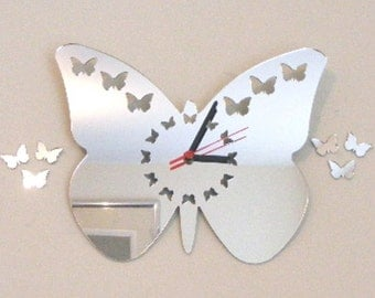 Butterflies out of Butterfly with Butterfly Dial Clock Mirror - 2 Sizes Available
