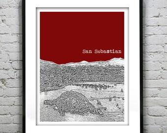 San Sebastian Spain Skyline Poster Art Print