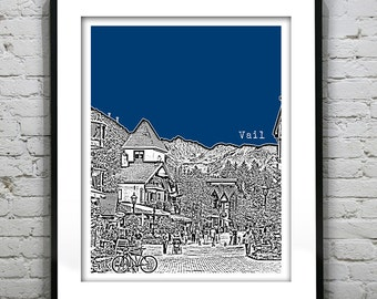 1 Day Only Sale 10% Off - Vail Colorado Skyline Poster Art Print CO Version 2