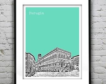 Perugia Italy City Skyline Poster Art Print