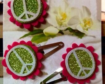 Peace felt ring and barrette set