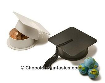 Graduation Cap Boxes with 3 oz Foil Wrapped Chocolates