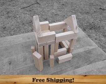 26 Piece Oak Wooden Blocks, 3/4 inch thick, All Natural building blocks set, Unfinished or Finished, Sanded Edges