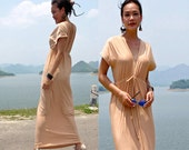 Beige Nude  V-Neck open backless long maxi dress sun evening all size