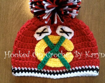 Chicago Blackhawks Crocheted Hat