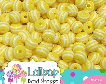 8mm YELLOW & WHITE Striped Beads Stripe Resin Beads Round Gum Ball Beads 50 Plastic Stripes Bubblegum Beads Bubble Gum Bead Bottle Cap Beads