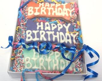 Happy Birthday Dog Treat Box of Three