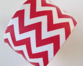 Washi Tape - Single Roll - Red and White Chevron - 30mm