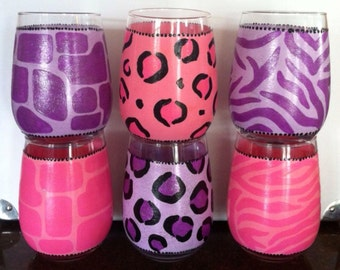Animal Print Glassware