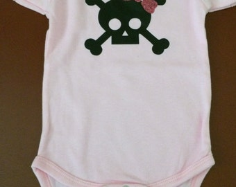 Skull with Glittery Pink Bow on Pink Onesie, sparkle, glitter, personalized gift
