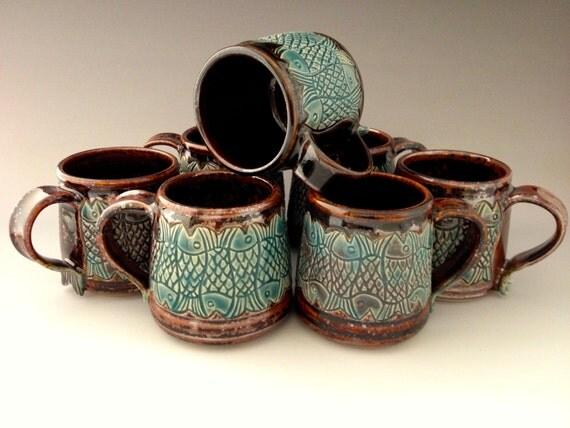 12 Ounce Handmade Carved Fish Mugs For Coffee Tea Cocoa