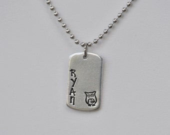 Personalized Hand Stamped Mini Dogtag Necklace