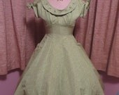 Vintage 1950's green party dress with 3D roses, rhinestones and pearls possibly by Julie Miller of Ca