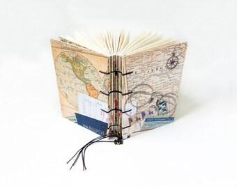 Small Coptic Bound Travel Journal, Notebook, Sketchbook - Travel Log