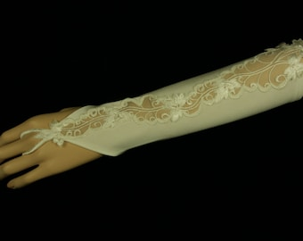 Bridal Gloves -Samantha Wedding Gloves with Strech Satin and Lace- Fingerless Gloves -Bridesmaids Gloves - Gants de Mariée