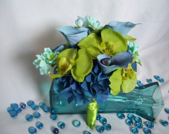 Bouquet with Turquoise Calla Lilies,Aqua Cherry Blossom, Lime Phalaenopsis Orchids, Silk