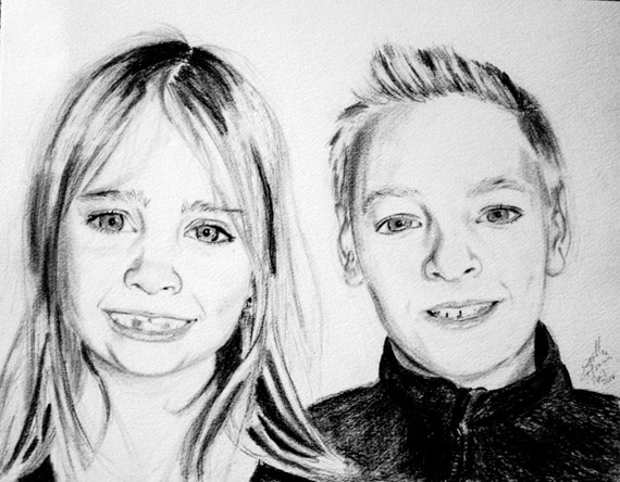 Custom Portrait Drawing Brother and Sister Pencil Portrait