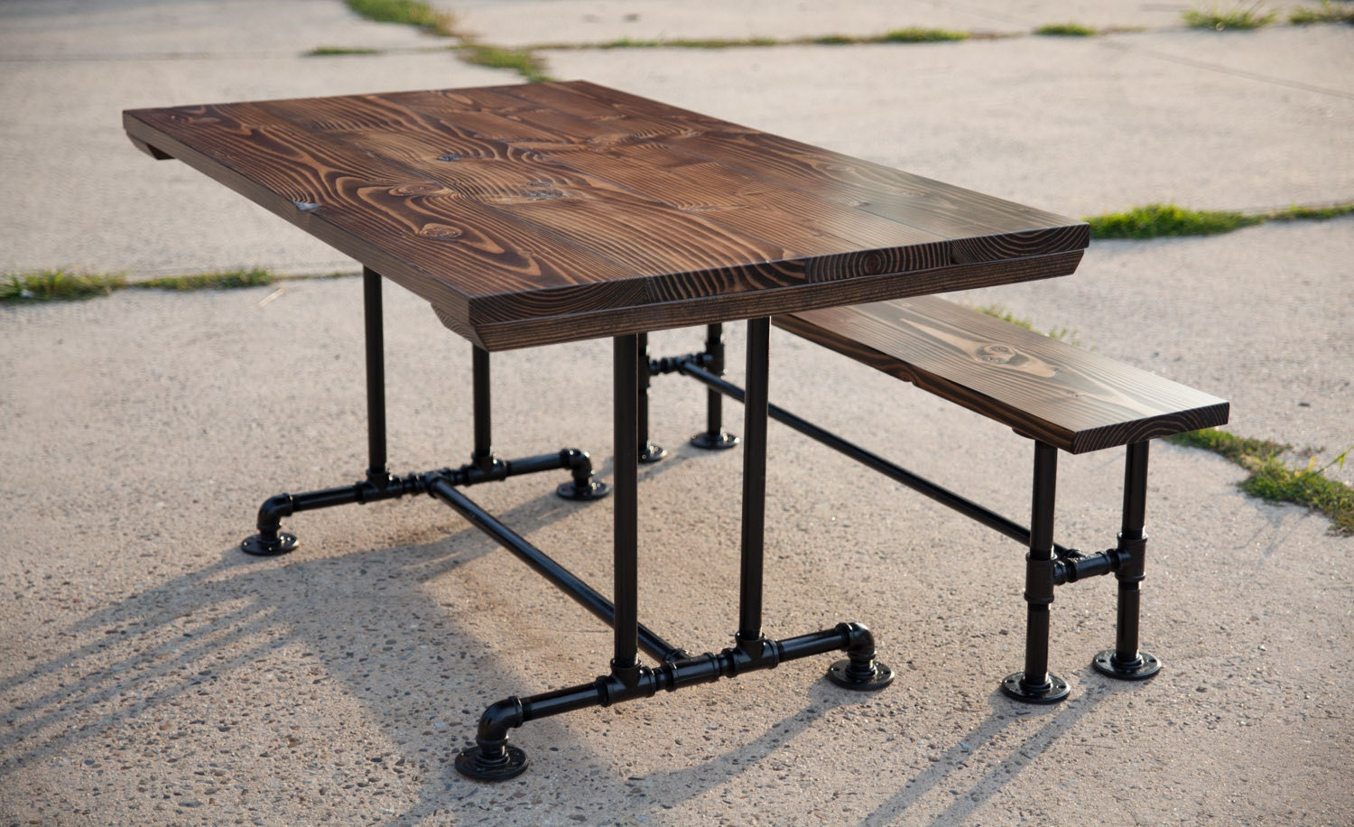 5ft industrial style farmhouse table farmhouse dining table - Spiegel industrial metal ...