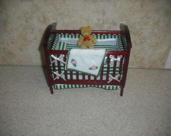 1:12 scale Dollhouse miniature Mahogany Crib