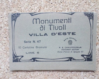 Old Vintage Postcards set, 10 Images, Italy - Tivoli