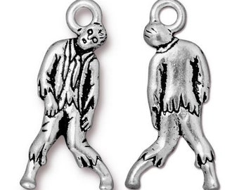 Set of 4 Zombie Antique Silver-colored, lead free pewter Charms