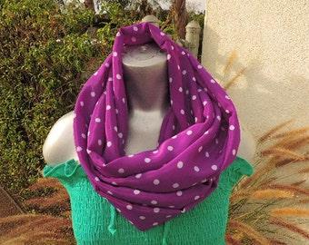 polka dot infinity circle loop scarf purple white chiffon short