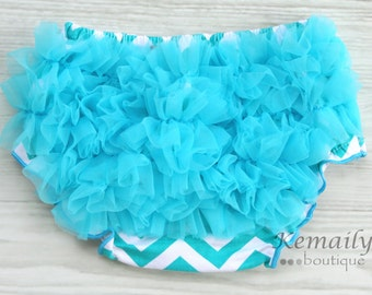 Turquoise Chevron Ruffle Bloomers, Ruffle Diaper Cover, Ruffle Bloomers, Diaper Cover, Baby Ruffle Bloomers, Baby Girl Clothes