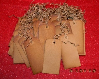 100 Large blank coffee stained primitive hang tags lot with string