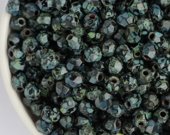 3mm Black Picasso (50psc) Small Czech Fire Polished Glass Beads Antique Jet Polish Faceted Round