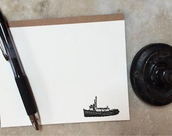 Tugboat flat letterpress cards- set of 6