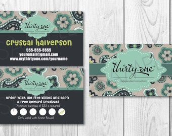 Personalized Business Cards  and Customer Cards made for Thirty-One Gifts - Paisley Day