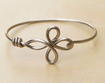 Silver Clover Bicycle Spoke Bracelet